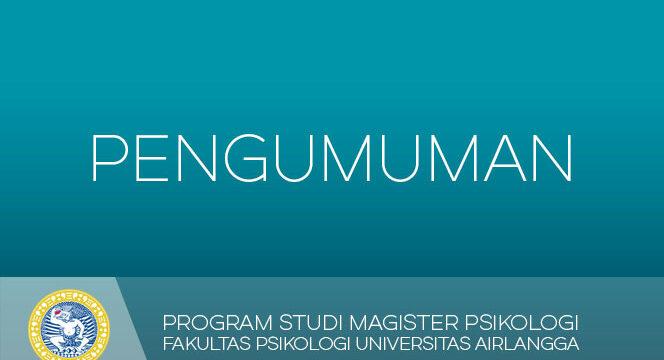 REVISI – Jadwal Matrikulasi Magister Psikologi 2017